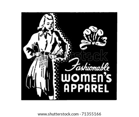 Fashionable Women's Apparel - Retro Ad Art Banner