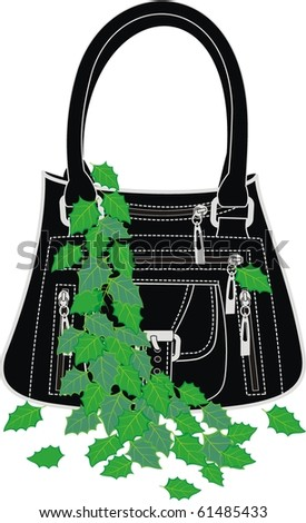 Fashionable women's handbag in black leather with green leaves