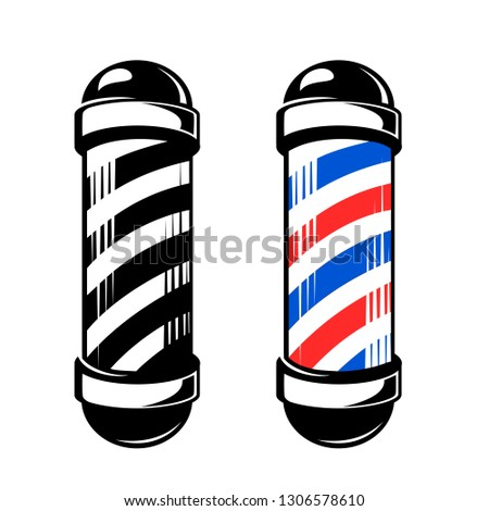 Fashioned vintage glass barber shop poles with stripes. Vector