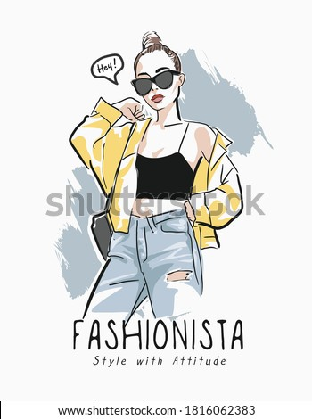 fashionista slogan with fashion