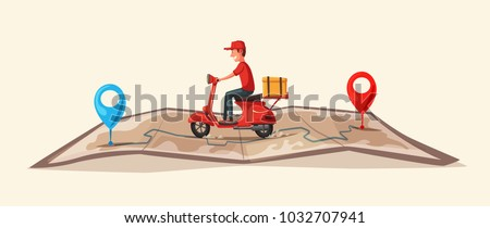 Fast and free delivery by scooter. Vector cartoon illustration. Food service. - Shutterstock ID 1032707941