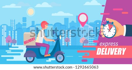 Fast and free delivery in short time on scooters.Food and other shipping service for apps, websites.Quick and express bike deliver. Advertise for restaurants, caffees, shops, pizzerias.Vector