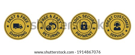 fast and free shipping, easy returns, secure payment, customer service, Money back guarantee, Free Shipping Trust Badges ,Trust Badges