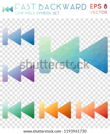 Fast backward geometric polygonal icons. Artistic mosaic style symbol collection. Favorable low poly style. Modern design. Fast backward icons set for infographics or presentation.