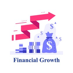 Fast capital growth, fund raising, return on investment, revenue increase, financial profit, earn more money, high interest, stock market wealth management, trading strategy, vector flat illustration