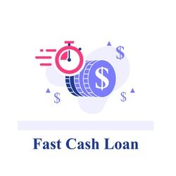 Fast cash loan, dollar coins and stopwatch, financial solution, micro lending, easy money transfer, finance provision concept, send currency quickly, vector flat illustration