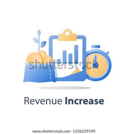 Fast cash loan, quick easy money, invest fund growth, lucrative portfolio, secure finance investment, interest rate, revenue increase, performance report, vector icon