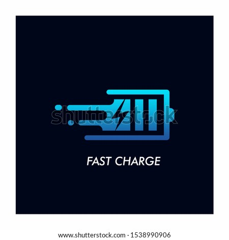 Fast Charge Battery Logo Design Vector Icon Stockfoto ©