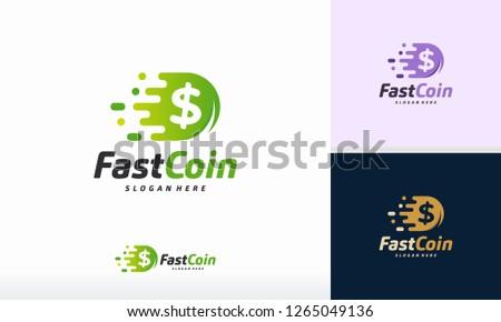 fast coin logo designs concept
