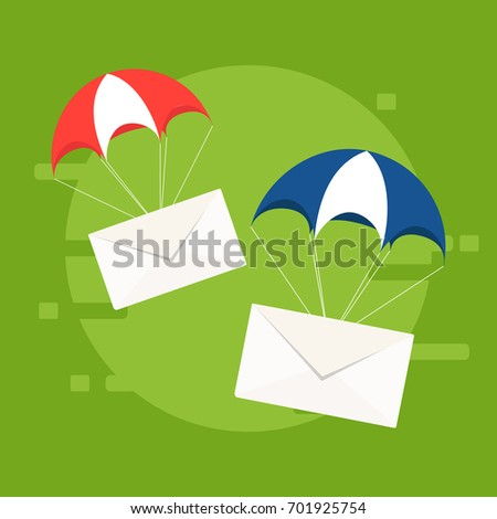 Fast correspondence. Vector illustration. Airmail delivery icon. Envelope shipping parachute.