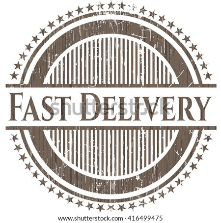Fast Delivery badge with wooden background