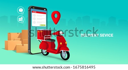 Fast delivery by scooter on mobile. E-commerce concept. Online food or pizza order and packaging box infographic. Webpage, app design. green gradient city background. Perspective vector illustration