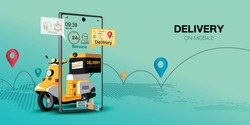 Fast delivery by scooter on mobile. E-commerce concept. Online food order infographic. Webpage, app design. Green background. Perspective vector