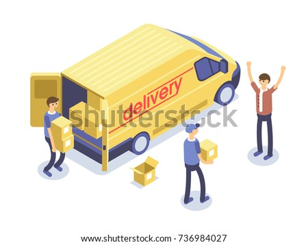 Fast delivery concept. Van, man and cardboard boxes. Product goods shipping transport. Isometric 3d illustration.