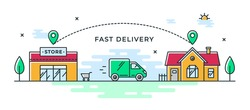 Fast delivery from store to home. Vector color illustration with shop, delivery van and house. Delivery route linear icon. Web banner or flyer concept. Pictogram of cargo van.