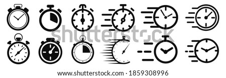Fast delivery icon with timer. Fast stopwatch line icon. Fast delivery shipping service sign. Speed clock symbol urgency, deadline, time management, competition sign – stock vector Foto stock ©