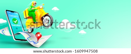 Fast delivery package by scooter on mobile phone. Order package in E-commerce by app. Tracking courier by map application. Three dimensional concept. Vector illustration Photo stock ©
