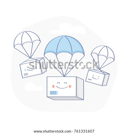 Fast Delivery Service, Parcels Delivery. Happy cute Packages are flying on parachutes. E-Commerce template. Flat outline isolated vector illustration on white background.