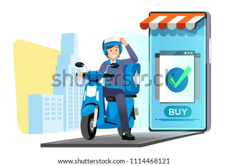 Fast delivery shopping online service and quick shipping a parcel around city by motorcycle staff.
