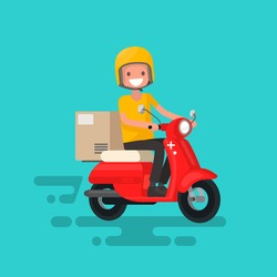Fast delivery. The guy on the bike in a hurry to deliver the order