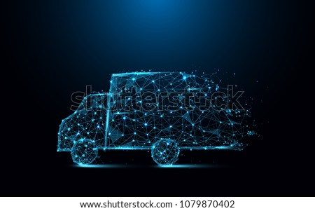 Fast delivery truck icon form lines and triangles, point connecting network on blue background. Illustration vector