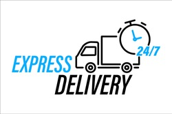 Fast delivery truck icon. Online delivery service line vector icon. Express delivery, quick move. Fast shipping delivery truck for apps and websites. Line cargo van moving fast. 24 7 service label