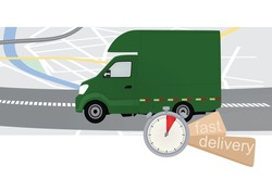 Fast delivery truck. vector illustration