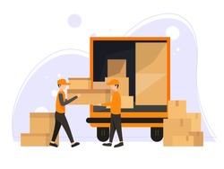 Fast delivery van. Courier provides free delivery of goods or postal parcels to the address. Man with cardboard boxes. Vector illustration in flat style