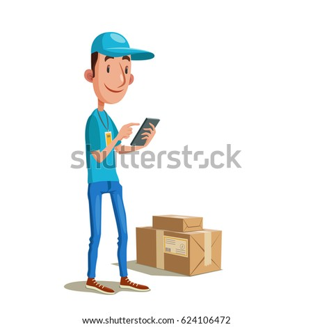 Fast delivery. Vector illustration of courier in blue uniform receiving the web order on phone.
