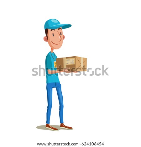Fast delivery. Vector illustration of courier in cap handing parcel. Young smiling man in blue uniform holding  carton box