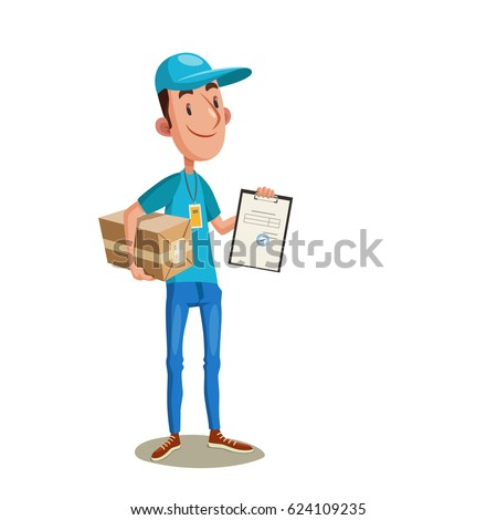 Fast delivery. Vector illustration of young courier in blue uniform with a box and tablet. Man  with parcel proposing document for sign.