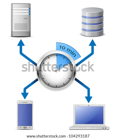 Fast deployment concept.Server, database, laptop and smart phone connected to network