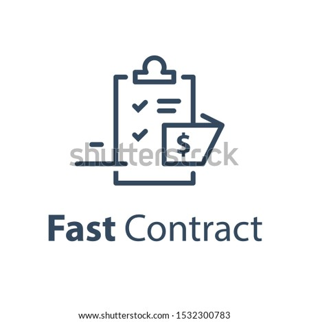 Fast document registration, contract creation, financial compensation claim, legal services, mortgage loan approval, terms and conditions draft, vector line icon