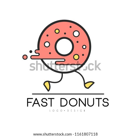Fast donut logo design, food service delivery, creative template with running donut for corporate identity, fast food restaurant or cafe vector Illustration on a white background