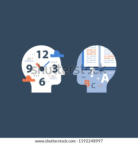 Fast education concept, exam preparation, study subject, school assignment deadline, review knowledge, self learning, time to learn, back to school, vector icon, flat illustration