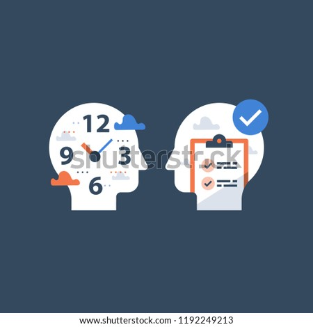 Fast education concept, exam preparation, study subject, school assignment deadline, review knowledge, self learning, time to learn, check list, vector icon, flat illustration