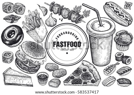 Fast food and drink set. Burger, fries, pizza, sushi, nuggets, kebabs, hot dog, muffin, cheesecake, donut isolated. Designed for fast food cafes. Vector illustration. Vintage art. Black and white.