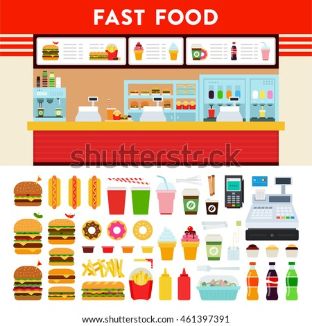 Fast Food and Express Cafe vector flat illustration. Set with donuts, burgers, ice cream, hot dogs, coffee, cola for infographics website and business advertising. Isolated on white background.