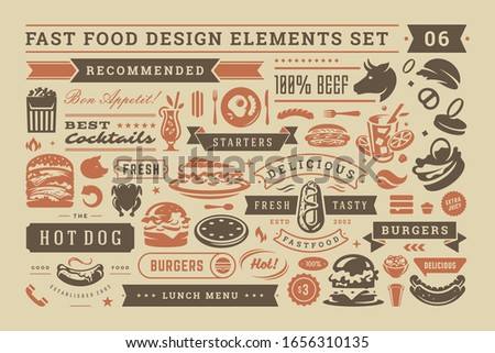 Fast food and street signs and symbols with retro typographic design elements vector set for restaurant menu decoration. Pizza, burger and sandwich silhouettes vector illustration.