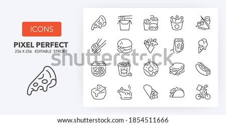 Fast food and take away thin line icon set. Outline symbol collection. Editable vector stroke. 256x256 Pixel Perfect scalable to 128px, 64px...