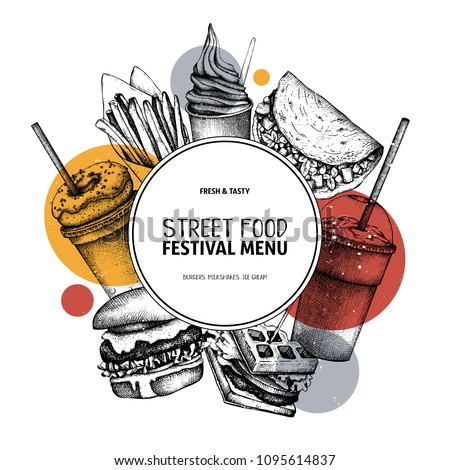 Fast food art. Engraved style design with vector drawing for logo, icon, label, packaging, poster. Street food festival menu with vintage illustrations.