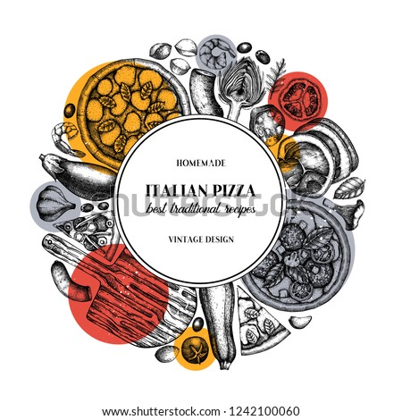 Fast food art. Vintage Pizza illustration.  Engraved style design with vector drawing for logo, icon, label, packaging, poster. Street food festival menu template.