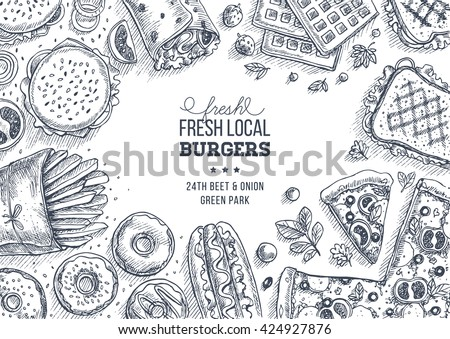 Fast food background. Linear graphic. Snack collection. Junk food. Engraved top view illustration. Vector illustration #424927876