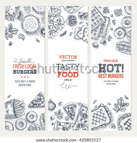Fast food banner collection. Linear graphic. Snack collection. Junk food cafe. Vector illustration