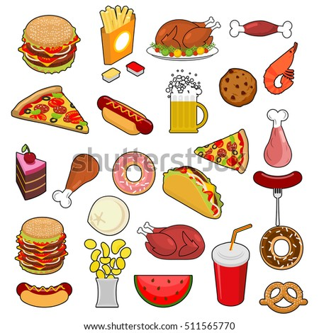 Shutterstock Fast Food big set. Signs of feed. Icon Collection of meat.