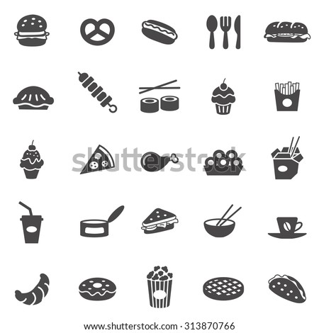 Fast food black icons set.Vector