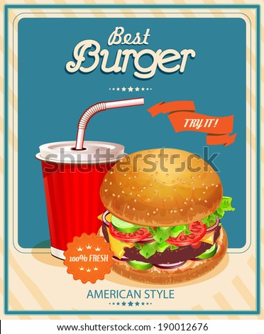 Fast Food Burger and Cola Vector illustration Poster in vintage style