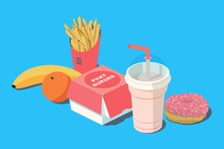 Fast Food. Burger and french fries in red carton package box, milkshake, banana, citrus orange and donut on a blue background. 3D vector isometric illustration.
