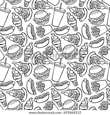 Fast food. Burger, hot dog, French fries, milkshake, ice cream, pizza. Seamless vector pattern (background).
