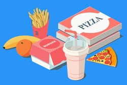 Fast Food. Burger, pizza and french fries in red carton package box, milkshake, banana, citrus orange on a blue background. 3D vector isometric illustration.